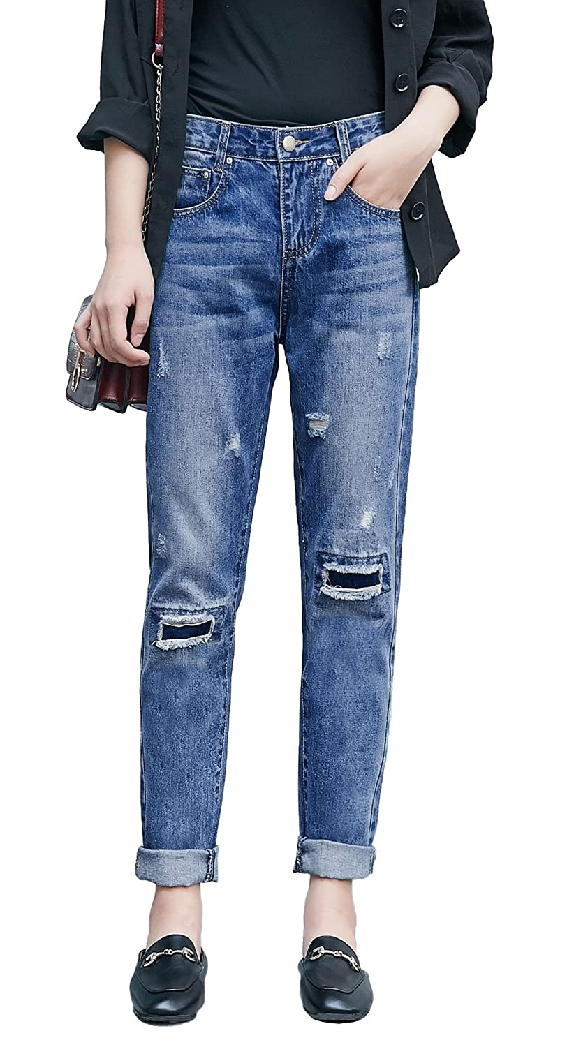 Chartou Women's Cute Ripped Mid-Waisted Boyfriend Destroyed Jeans