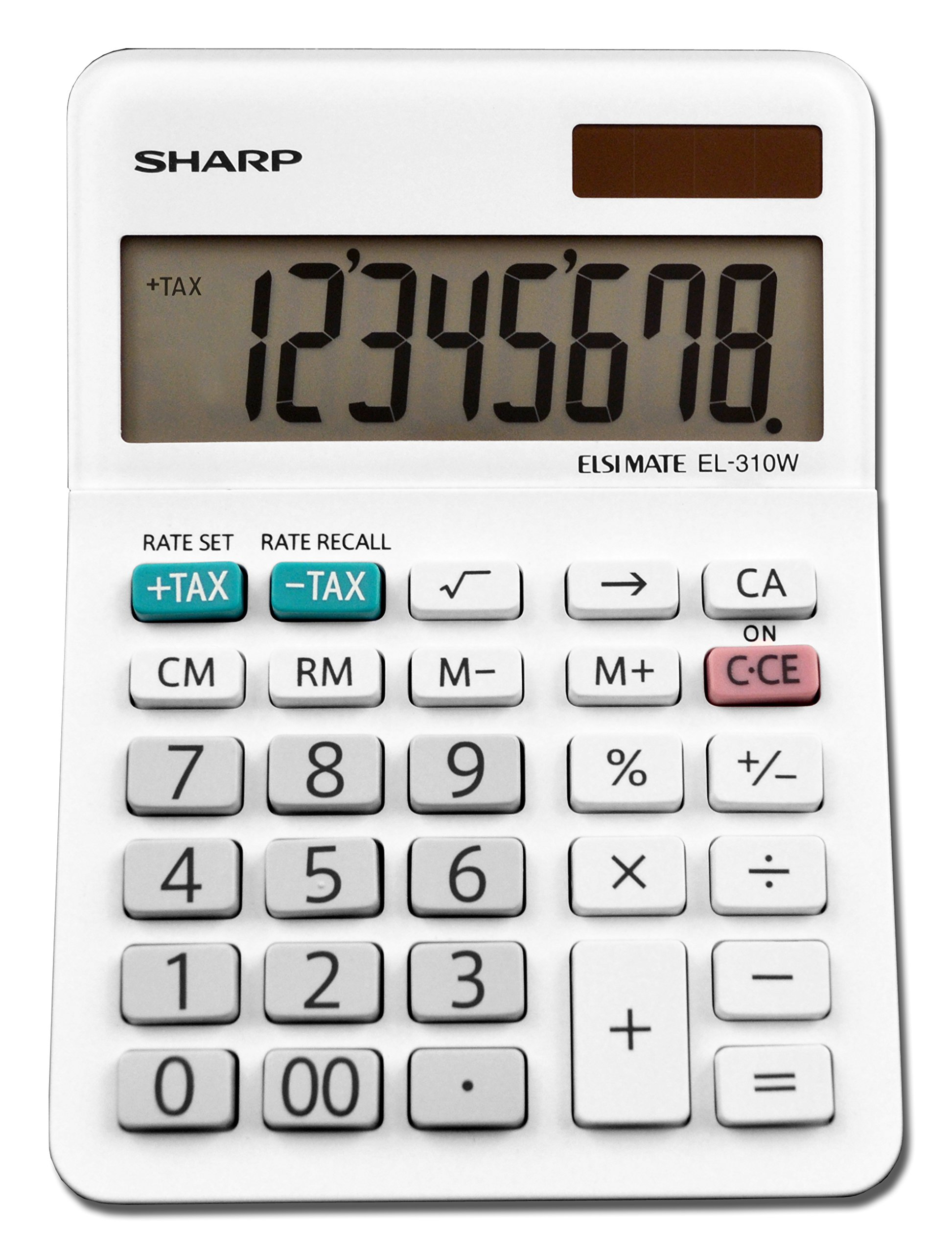 Sharp EL-310WB Mini Desktop Calculator, 8 Digit Angled Display, White, 3.38'' x 4.75'' x 1.0''