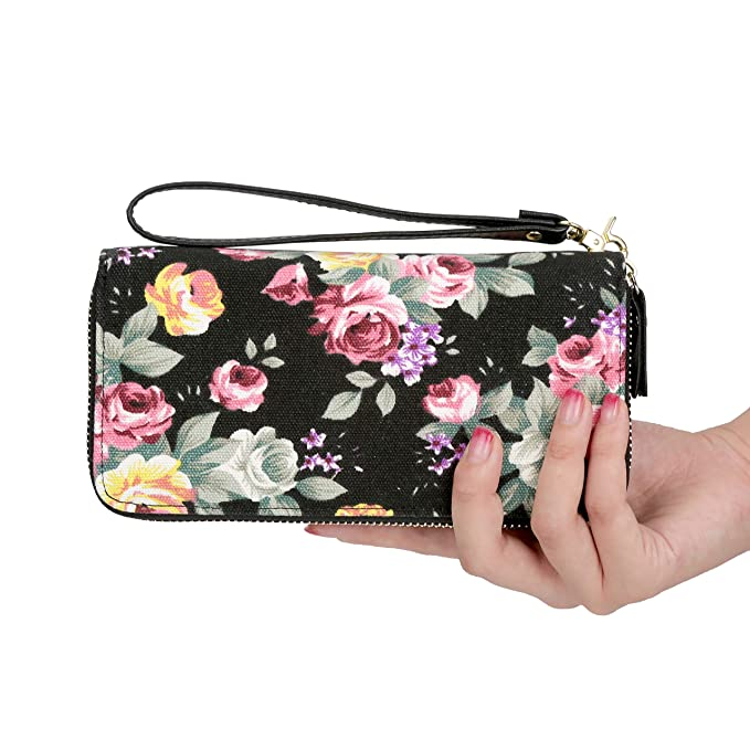Women Wallet Large Zipper Around Floral Clutch Wallet Canvas Card Holder  Purse (One size 3ec5852c09f6f