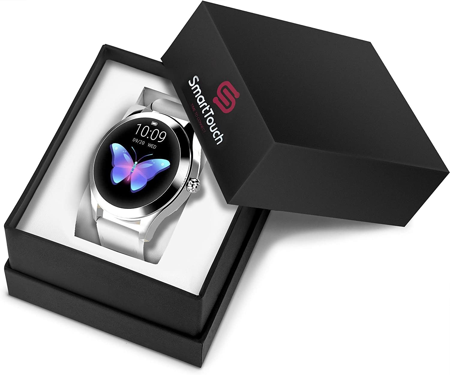 Smart Touch KW10 Ladies Smart Watch, IP68 Waterproof, Bluetooth   Sleep & Heart Rate Monitor, Pedometer, Physiological Reminder, Remote Camera  Smartwatch for Women w/Changeable Wrist Bands (White)