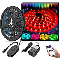 Minger 16.4Ft Waterproof LED Strip Lights Tape Sync to Music by App Control