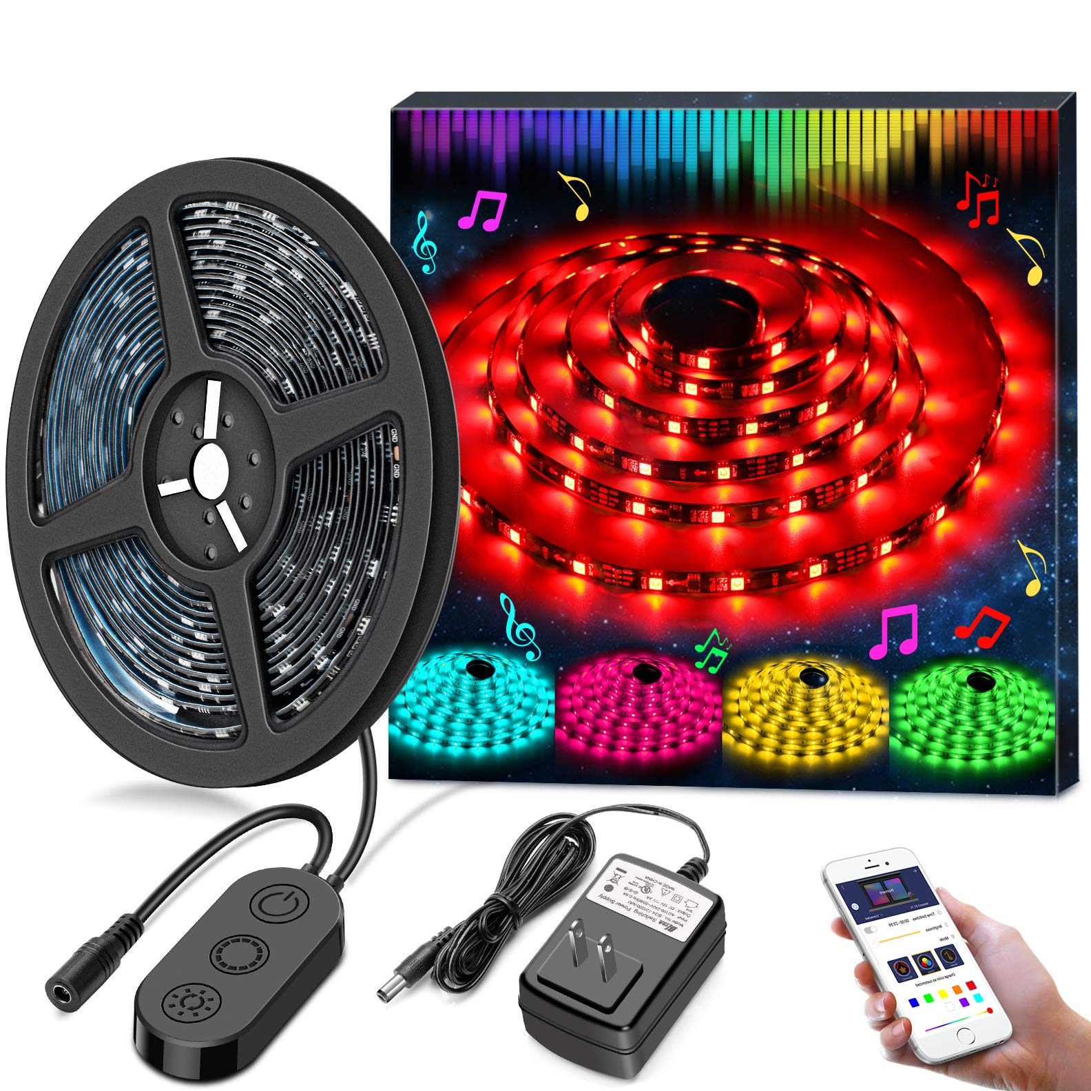 LED Strip Lights LED Tape Lights Sync to Music by APP Control, MINGER 16.4Ft/5M LED Light Strip Waterproof Flexible 5050 RGB Rope Light, 12V Strip Lighting for Bedroom Holiday Party, DC UL Listed