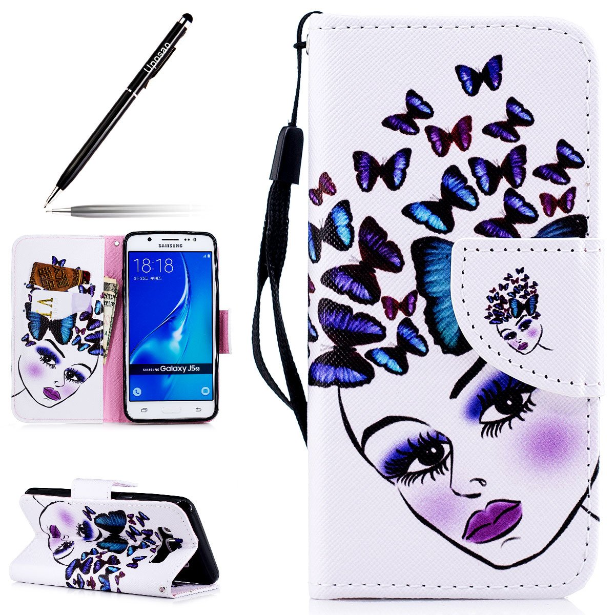 Funda para Samsung Galaxy J5 2016, carcasa Galaxy J5 2016 piel billetera pu Premium funda de protección con tapa Case, uposao Samsung Galaxy J5 2016 Flip ...