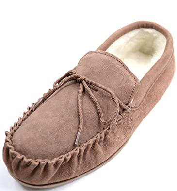 Womens Light Brown Sheepskin Suede Moccasin Slippers with Hard Sole. Size 3 a68851d618