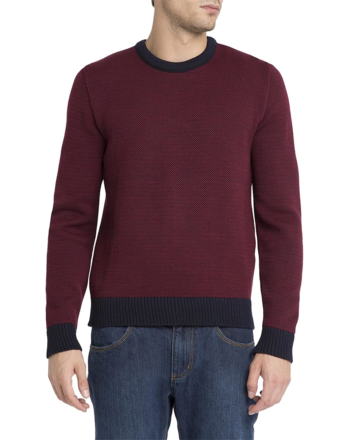 M.STUDIO - Crew-neck Sweaters - Men - Red and Navy Eustache Jacquard Round-Neck Sweater for men