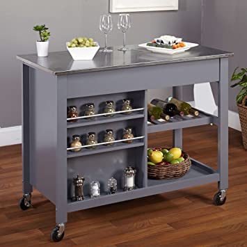 modern style mobile kitchen island rolling cart wooden frame stainless steel top with 2 storage - Mobile Kitchen Island
