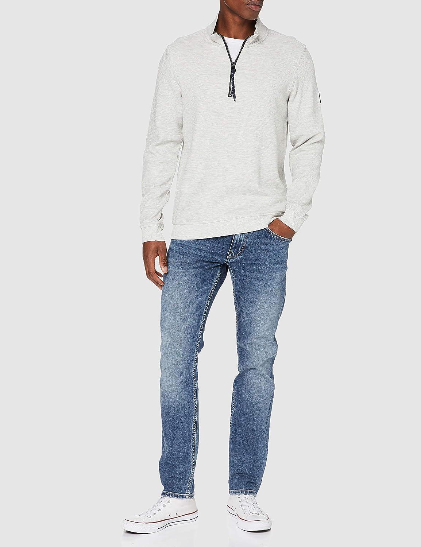 LERROS Herren Sweat Troyer Sweatshirt Broken White Melange