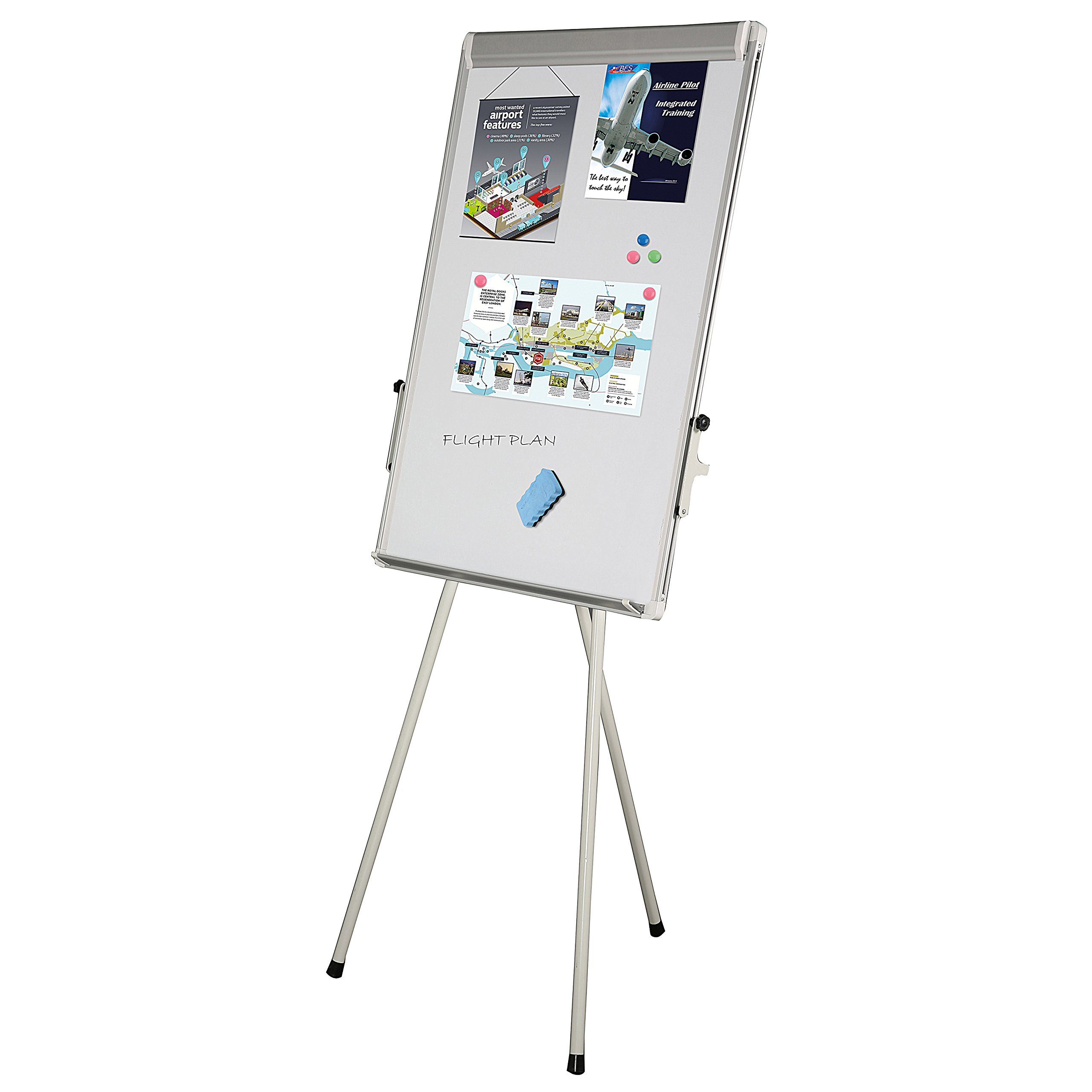 23x 35 height Adjustable Easel Flip chart Stand with Magnetic Surface - Silver by M&T Displays