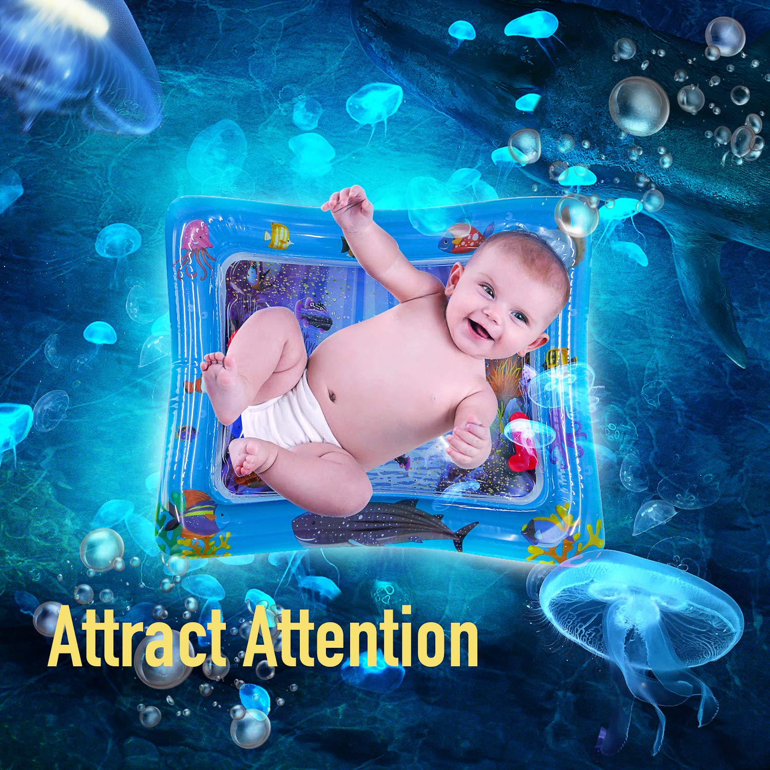 Gift-Random Color Water Play Mat Baby Inflatable Baby Tummy Time Water Pad Free-BPA Leakproof for Infants /& Toddlers Perfect Fun Time Play Activity Center Toys Stimulation Growth with Rattle
