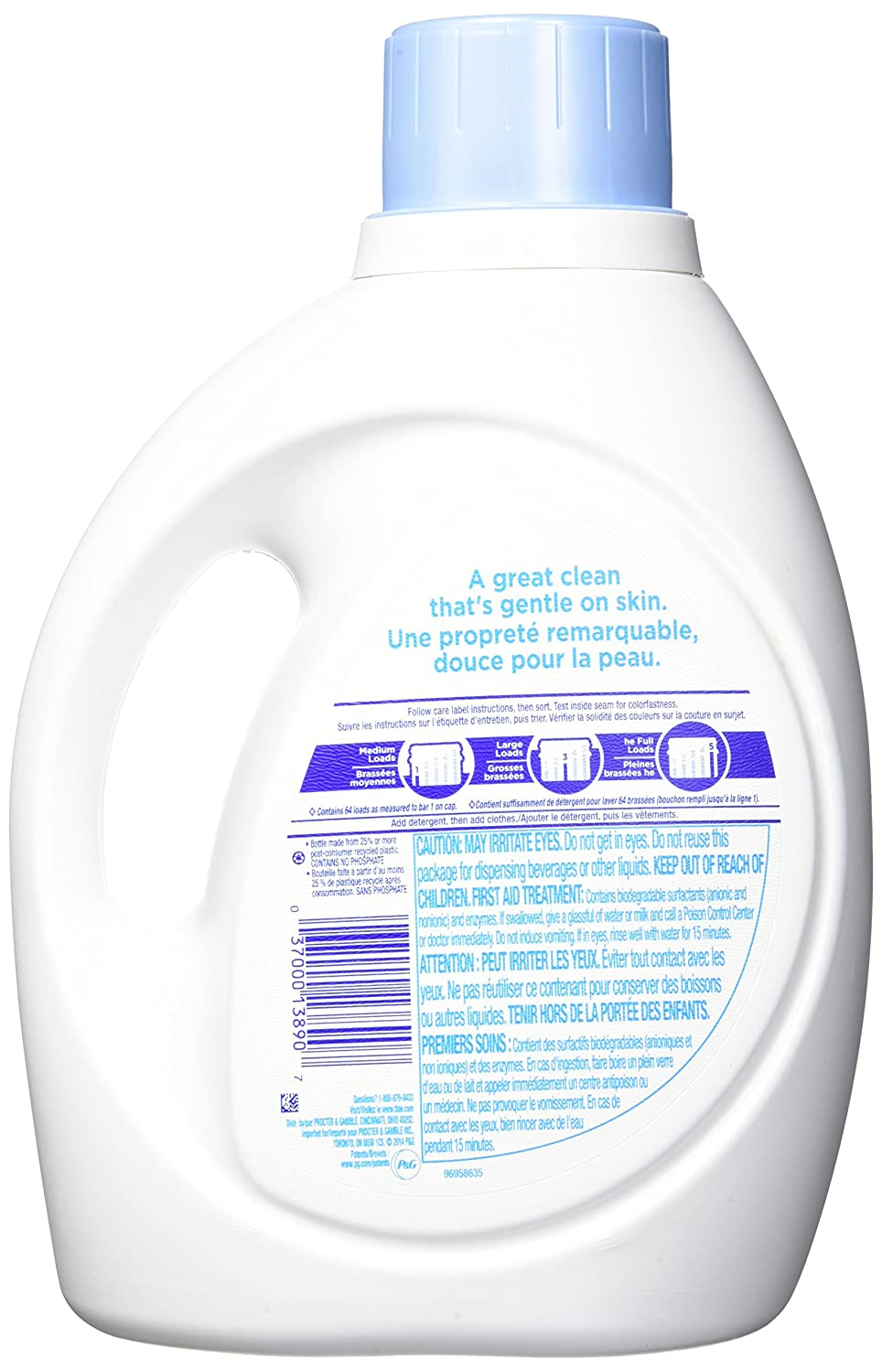 Tide Free & Gentle Liquid Laundry Detergent, Unscented, 2.95 L (64 Loads)