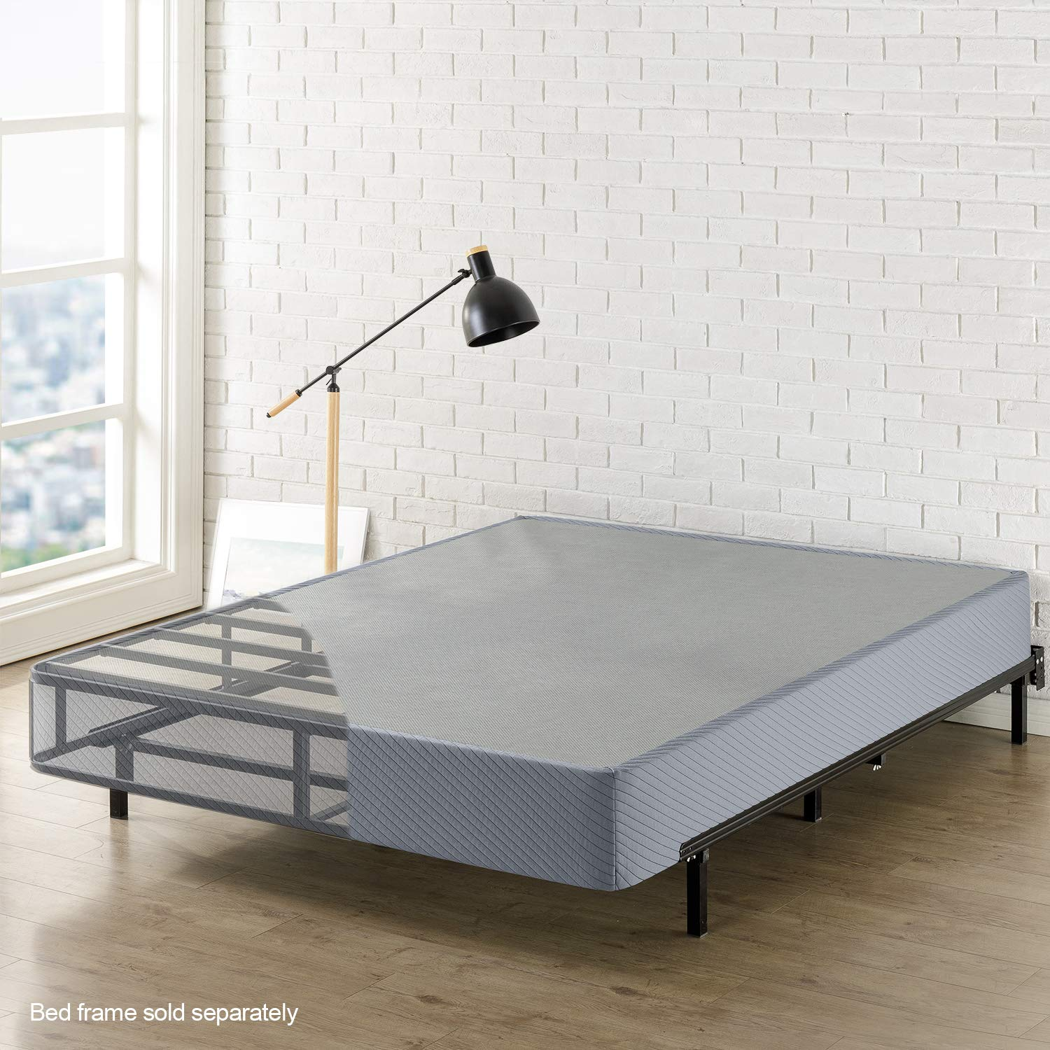 Best Price Mattress Queen Box Spring 9'' High Profile with with Heavy Duty Steel Slat Mattress Foundation Fits Standard Bed Frame, Gray by Best Price Mattress