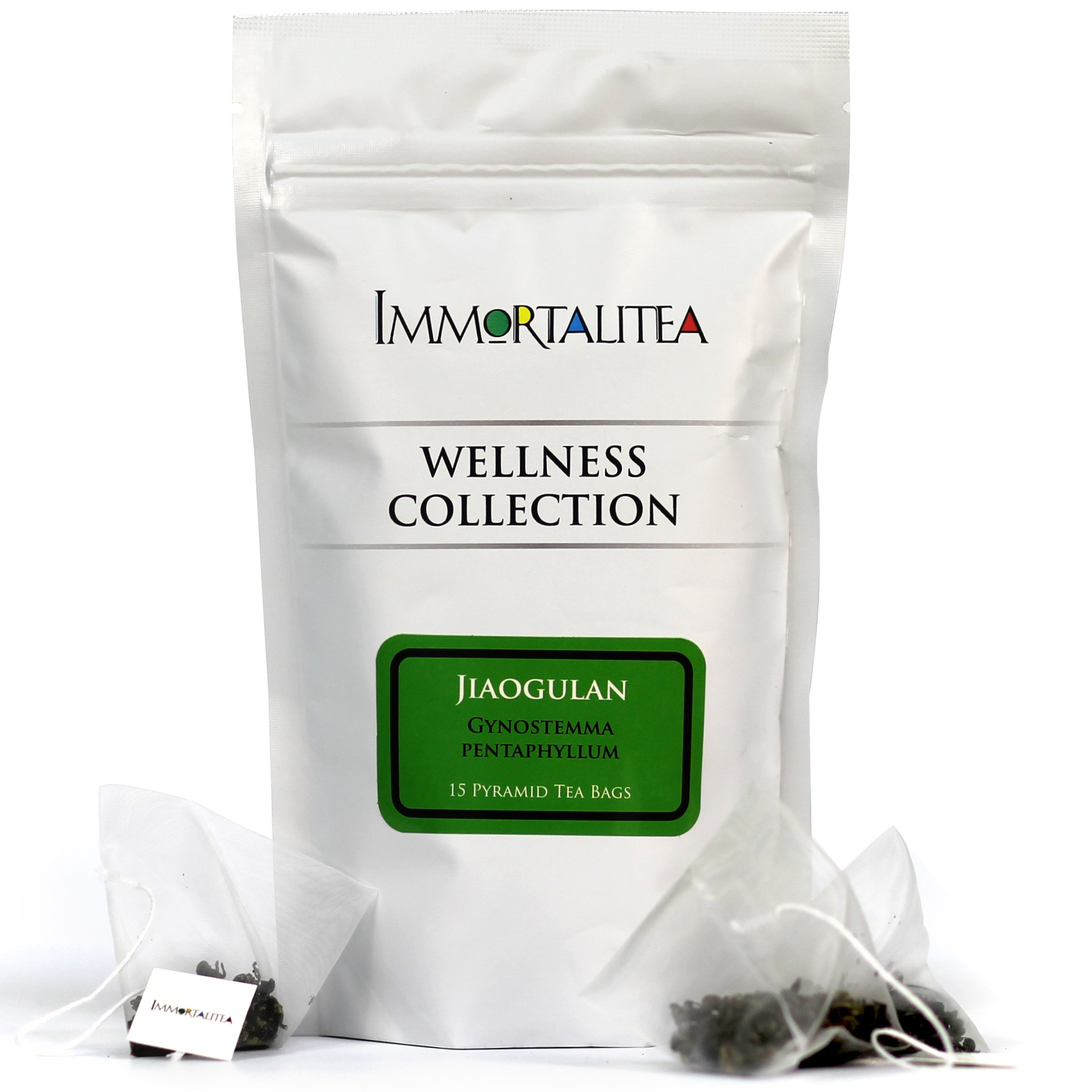 Gynostemma Tea - Jiaogulan AMPK Activator Herbal Tea - Potent Antioxidant & Adaptogenic Longevity Herb - All Natural Caffeine-Free Immortality Herb - 15 Pyramid Tea Bags by Immortalitea