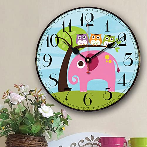 Cute Wall Clock, 14 Eruner Modern Family Animated Cartoon Decoration 14-Inch Wood Clock Painted Elephant Owl Lovely Style Silent Quartz Movement 12888 for Nursery Kid s Room Decal Elephant, M5