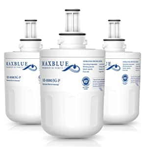 Max blue NSF 53&42 Certified DA29-00003G Refrigerator Water Filter, Replacement for Samsung DA29-00003B, RSG257AARS, RFG237AARS, DA29-00003F, HAFCU1, RFG297AARS, WSS-1, WFC2201, Pack of 3
