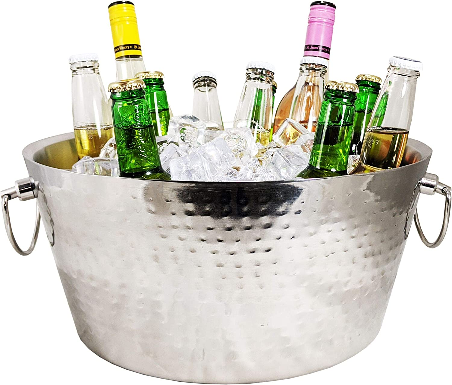BREKX Hammered Stainless-Steel Double-Walled Insulated Anchored Drink Tub & Ice Bucket with Double Hinged Handles, Drink Chiller for Parties, with Double Hinged Handles, 12 Quarts