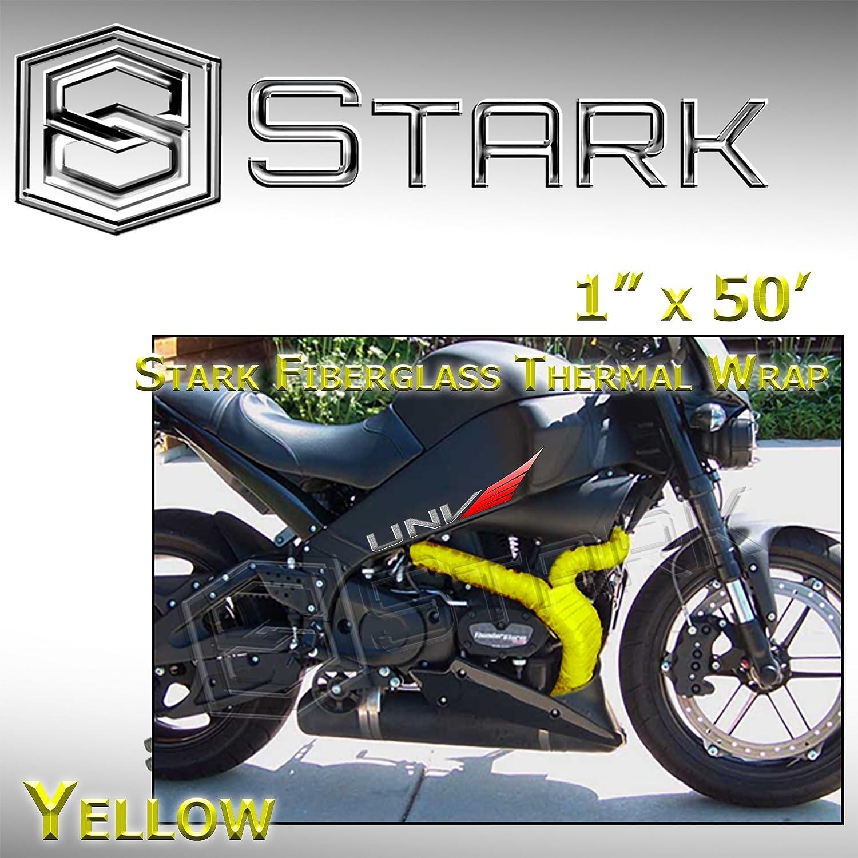 Black Stark Thermal Wrap 1 Wide x 50 Long Fiberglass Heat Shield Exhaust Manifold//Header Wrap