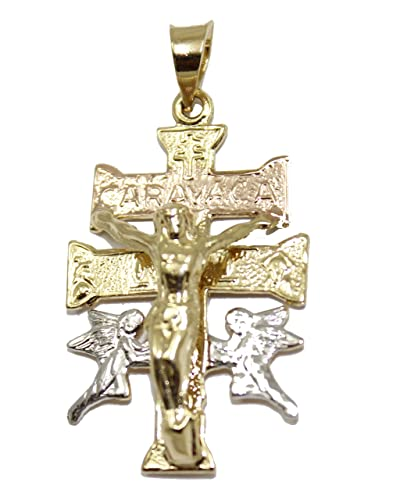 Amazon cruz de caravaca cross 18k gold plated 3 tone pendant cruz de caravaca cross 18k gold plated 3 tone pendant with chain mozeypictures Choice Image