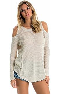 e0ecfca2023e74 ELAN Cold Shoulder Sweater Medium Merlot with Eyelet Trim at Amazon ...