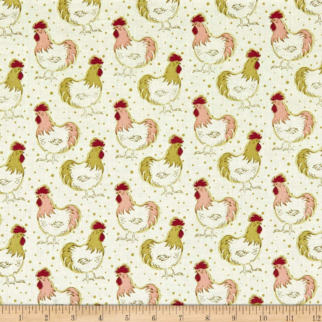 Whistler Studios Homestead Life Chicken Fancy Apple Blossom Quilt Fabric By The Yard