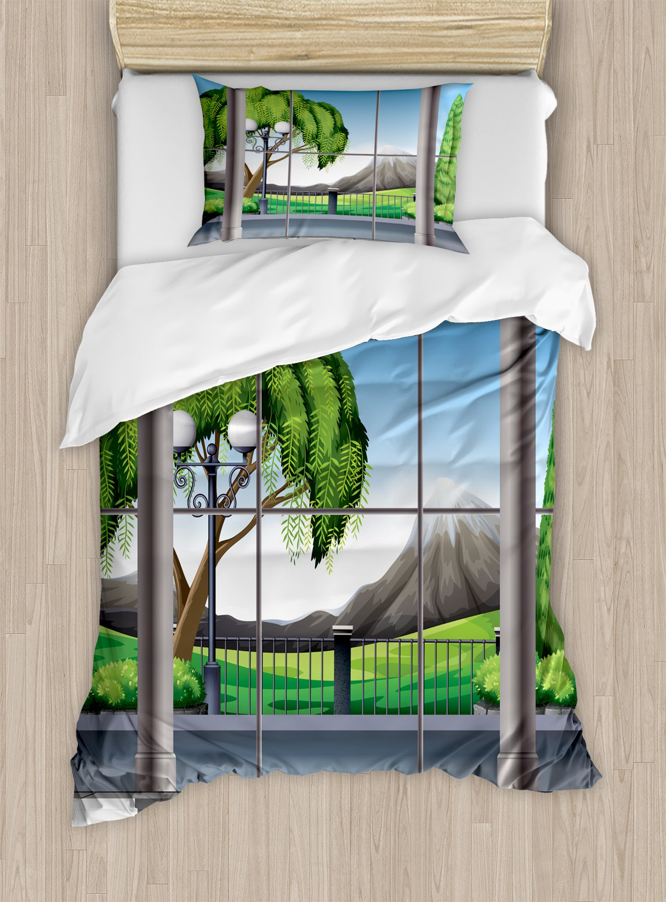 Ambesonne Landscape Duvet Cover Set Twin Size, Room with Window View of Mountains and Field Landscape Contemporary Architecture, Decorative 2 Piece Bedding Set with 1 Pillow Sham, Grey Green