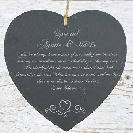 Ukgiftstoreonline Personalised Auntie And Uncle Gift Slate Plaque
