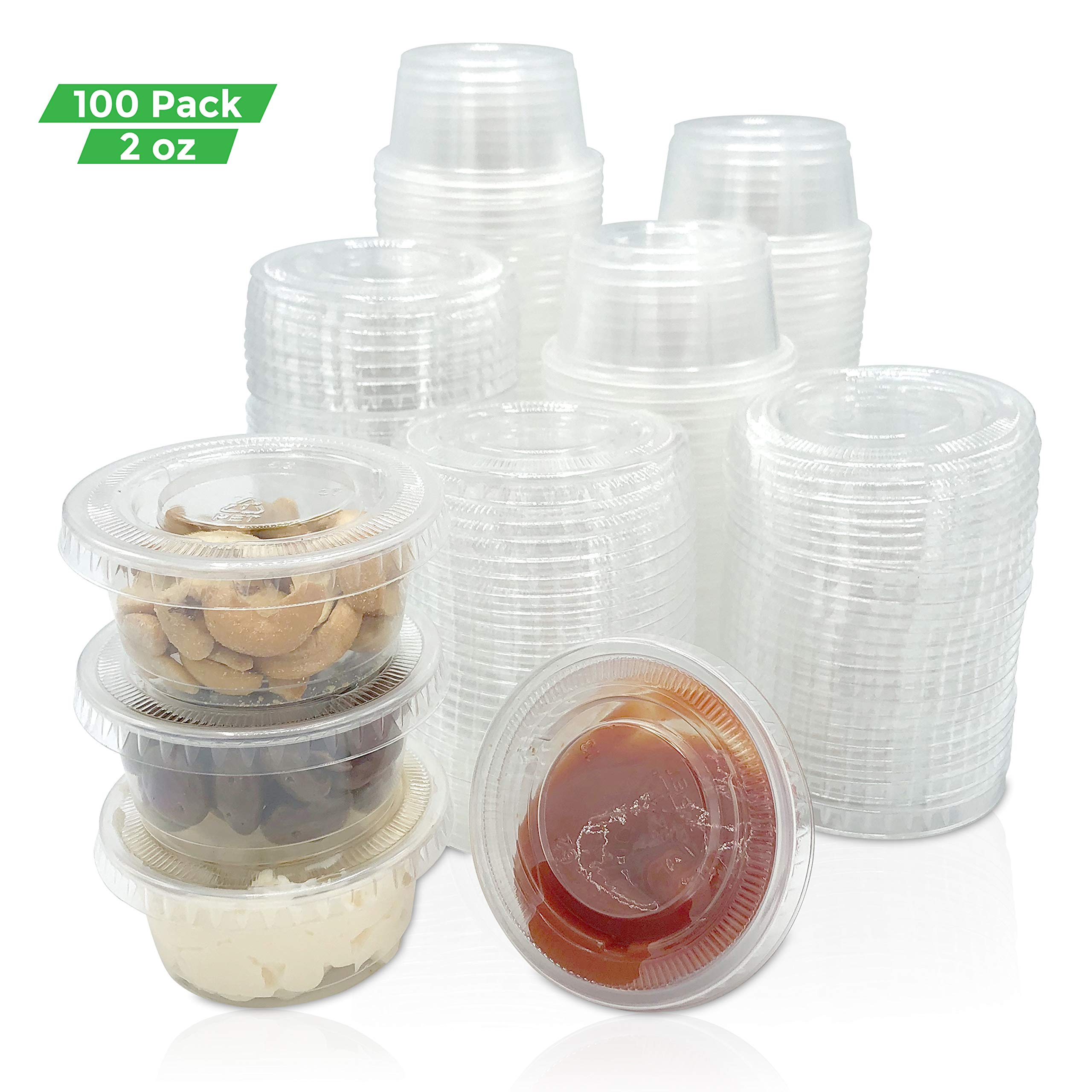 Jello Shot Cups- 2oz. Clear Plastic Condiment Cups/Portion Cup with Lids. (2500-Pack) Salad Dressings, Dips, Candies, Art Samples and More by Buzzy B Choice