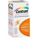 Centrum Specialist Energy Adult (60 Count) Multivitamin / Multimineral Supplement Tablet, Vitamin D3, C, B-Vitamins and Ginseng