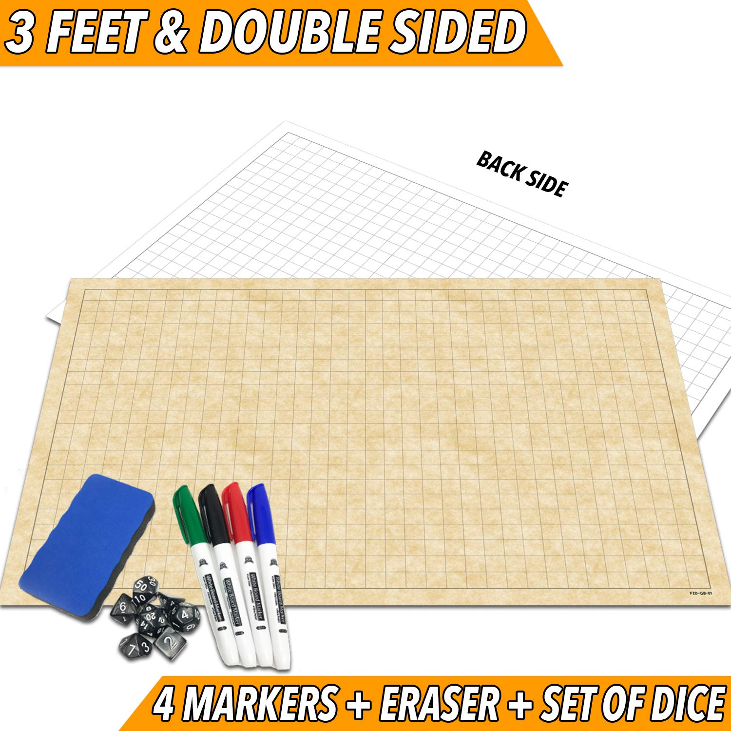 RPG Battle Grid Game Mat   24'' x 36'' Double Sided   w/Markers, Eraser & 7pc Polyhedral Dice Set   Table Top Role Playing Map - DnD Role Play - Dungeons and Dragons Maps Tiles - Tabletop Gaming Mats by Fat Zebra Designs (Image #1)