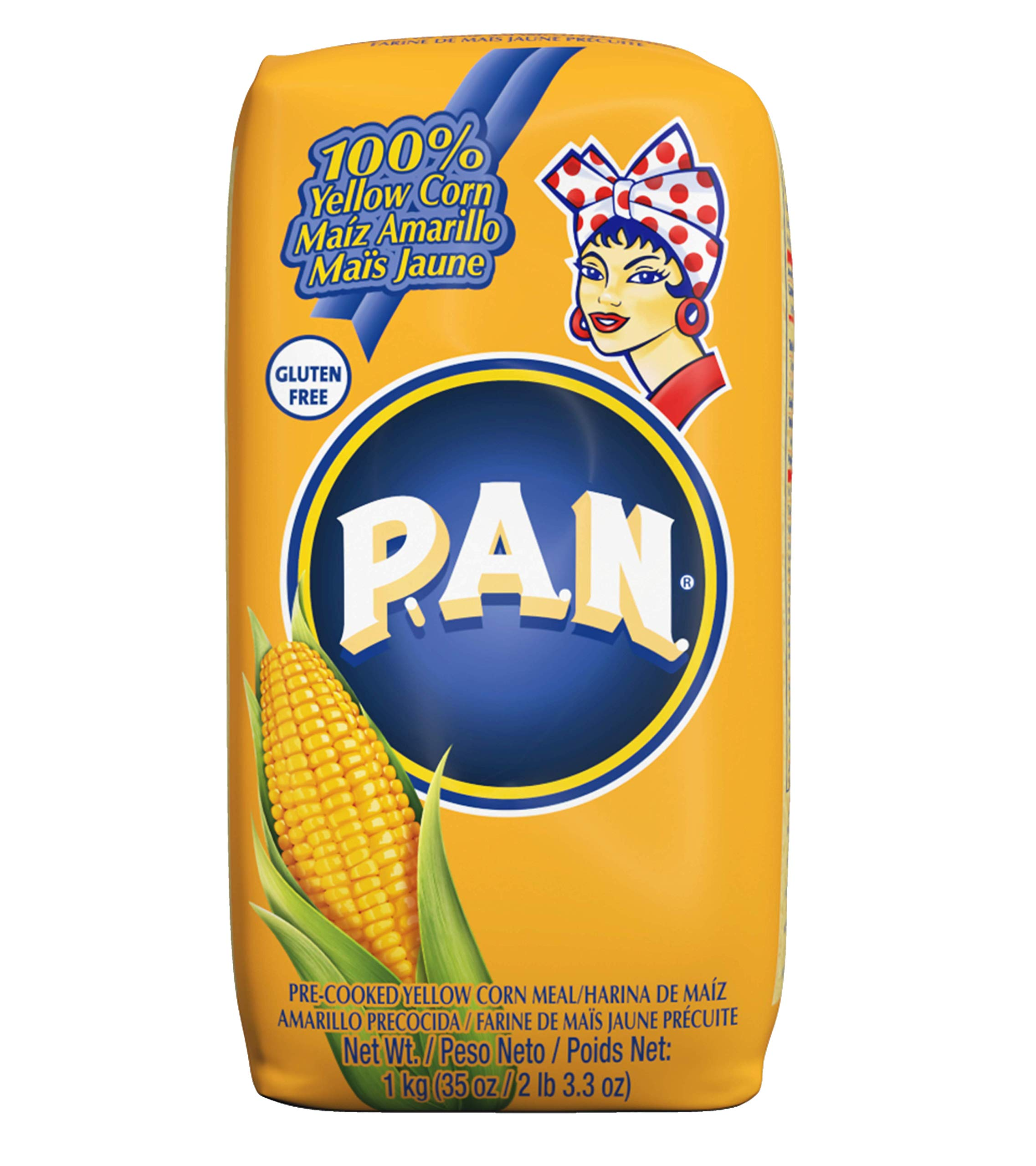 P.A.N. Yellow Corn Meal - Pre-cooked Gluten Free and Kosher Flour for Arepas, 1 Kilogram (35 Ounces / 2 Pounds 3.3 Ounces) (Pack of 6) by P.A.N.