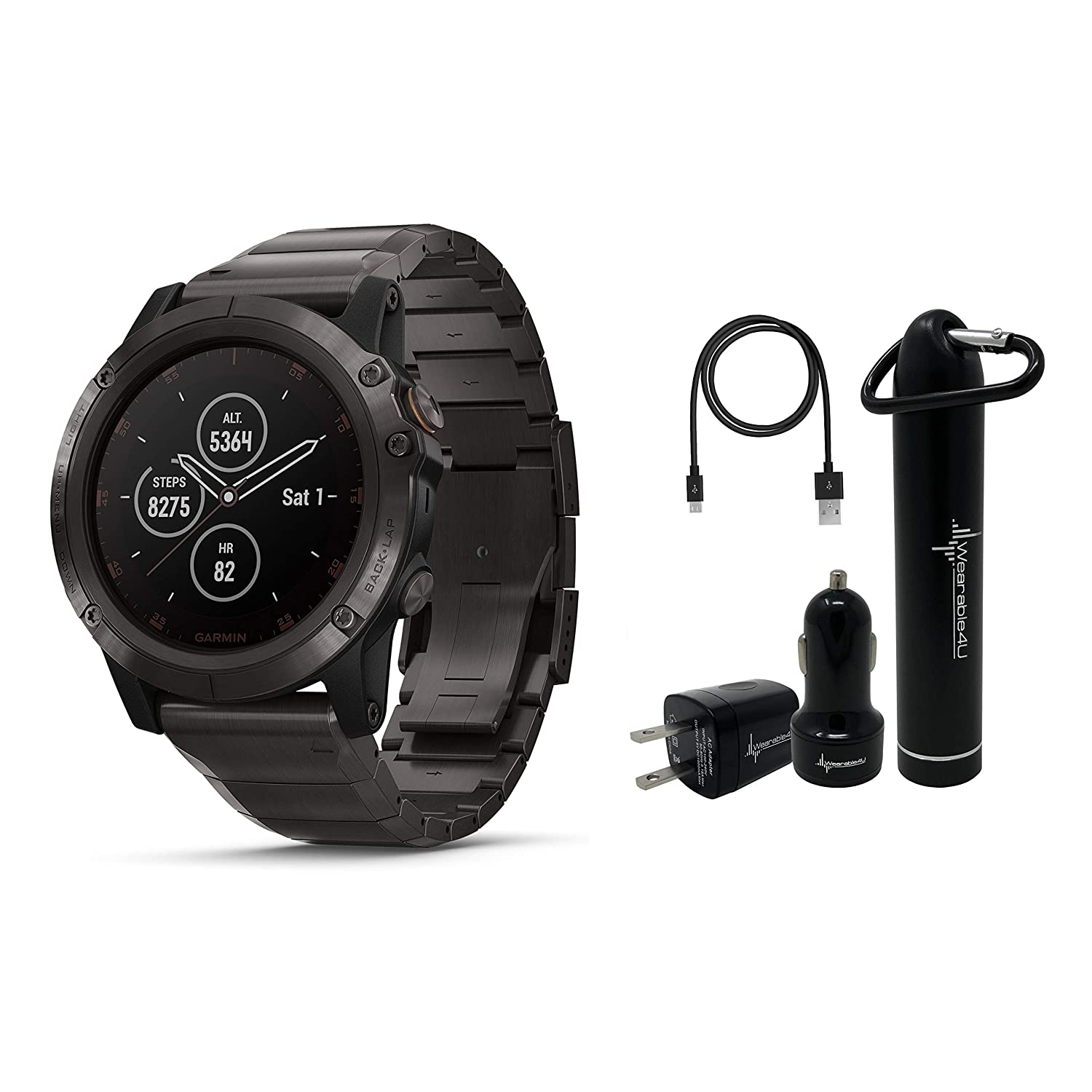 Garmin Fenix 5X Plus Sapphire Premium Multisport GPS Watch with Maps, Music and Contactless Payments and Wearable4U Ultimate Power Pack Bundle Sapphire Titanium with Titanium Band