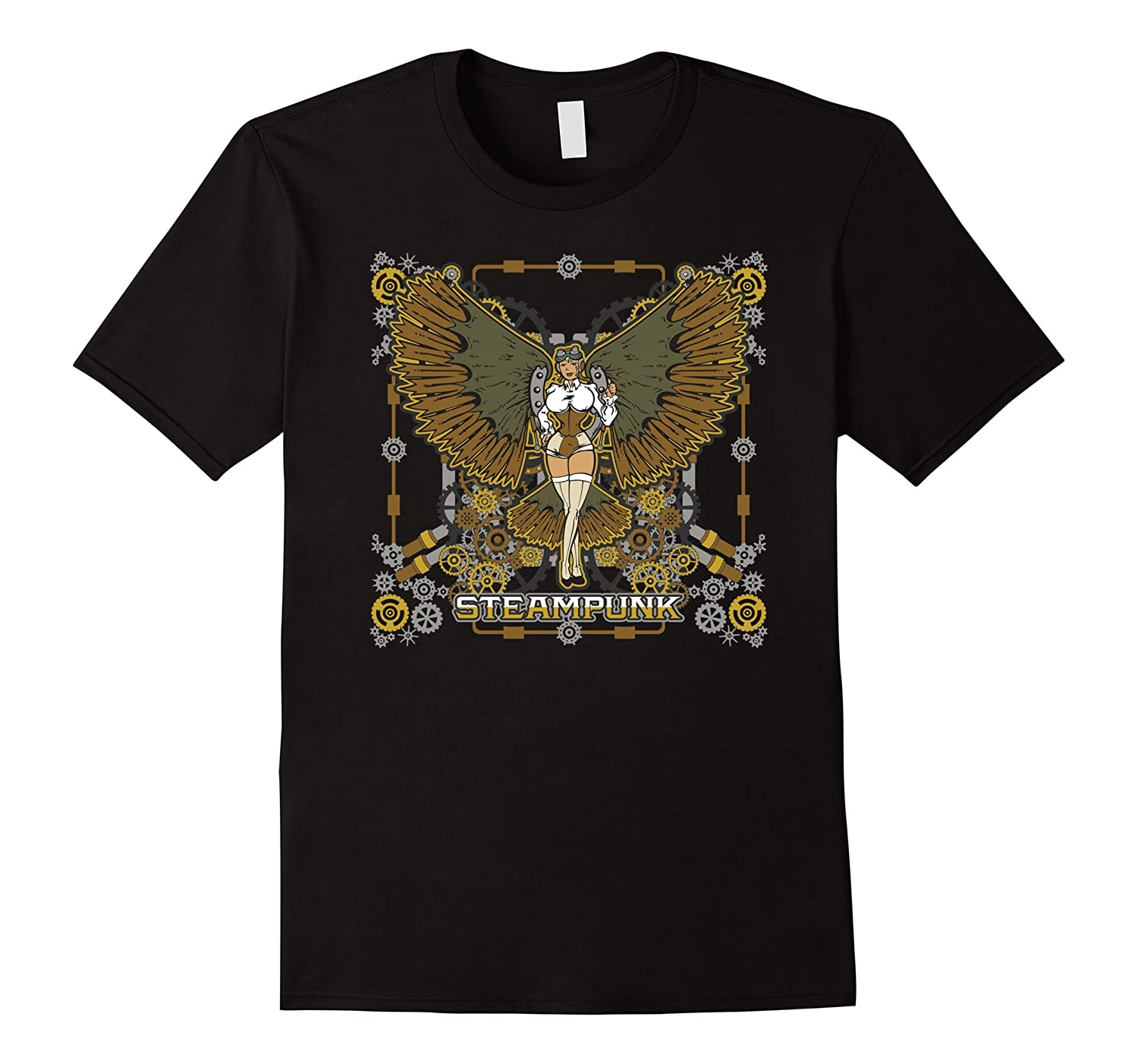 Steampunk Woman with Mechanical Wings T-shirt