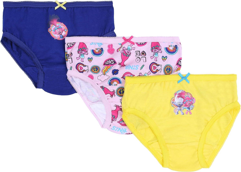 5 x Pink//Blue Briefs Underwear for Girls Trolls DreamWorks