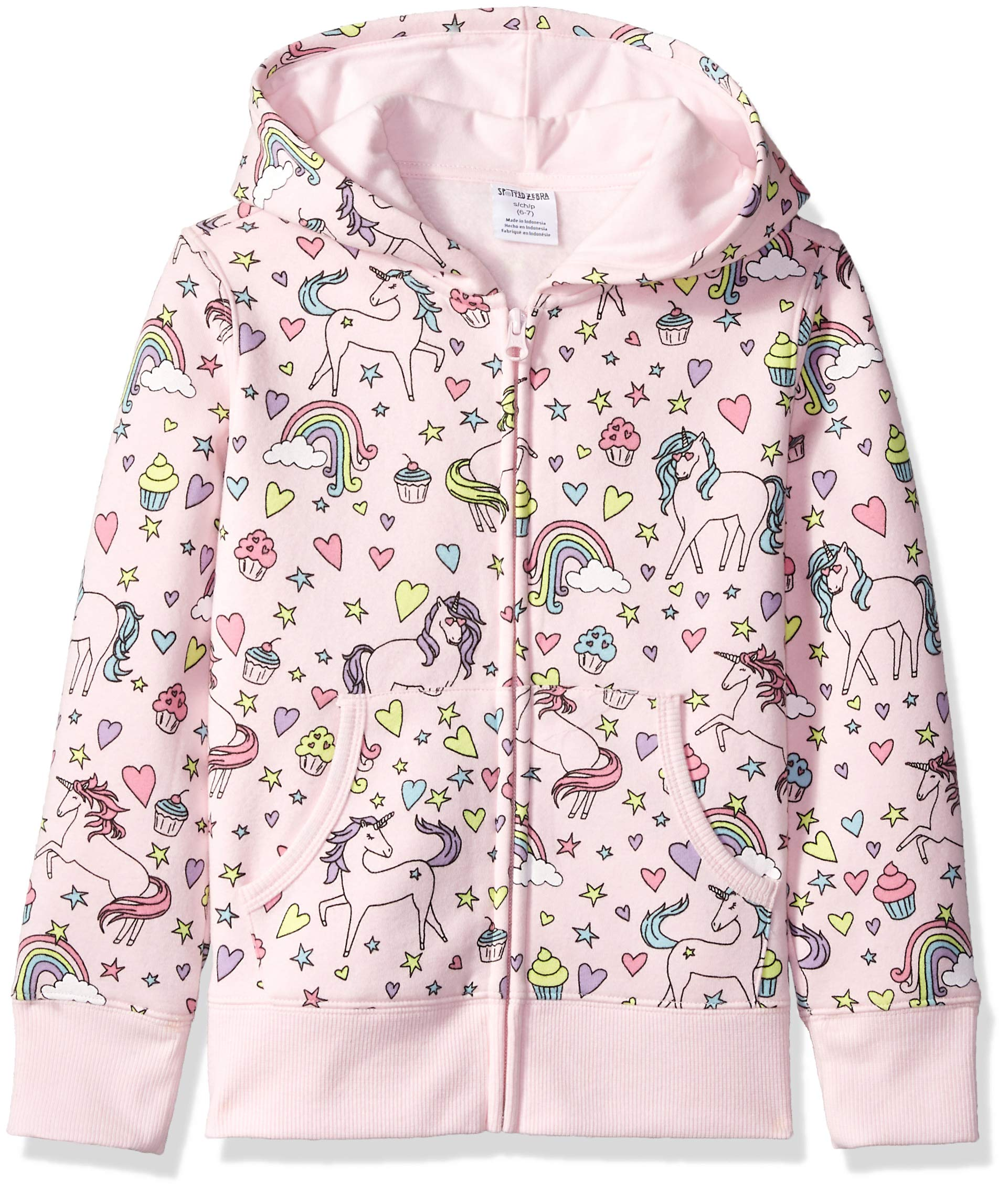Amazon Brand - Spotted Zebra Little Kid Fleece Zip-Up Hoodies, Unicorn, X-Small (4-5)