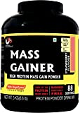 Advance MuscleMass Mass Gainer High Protein Supplement Powder with Digezyme®(Whey Protein Imported from USA) 3kg 6.6Lb (88 Servings) Strawberry Flavour