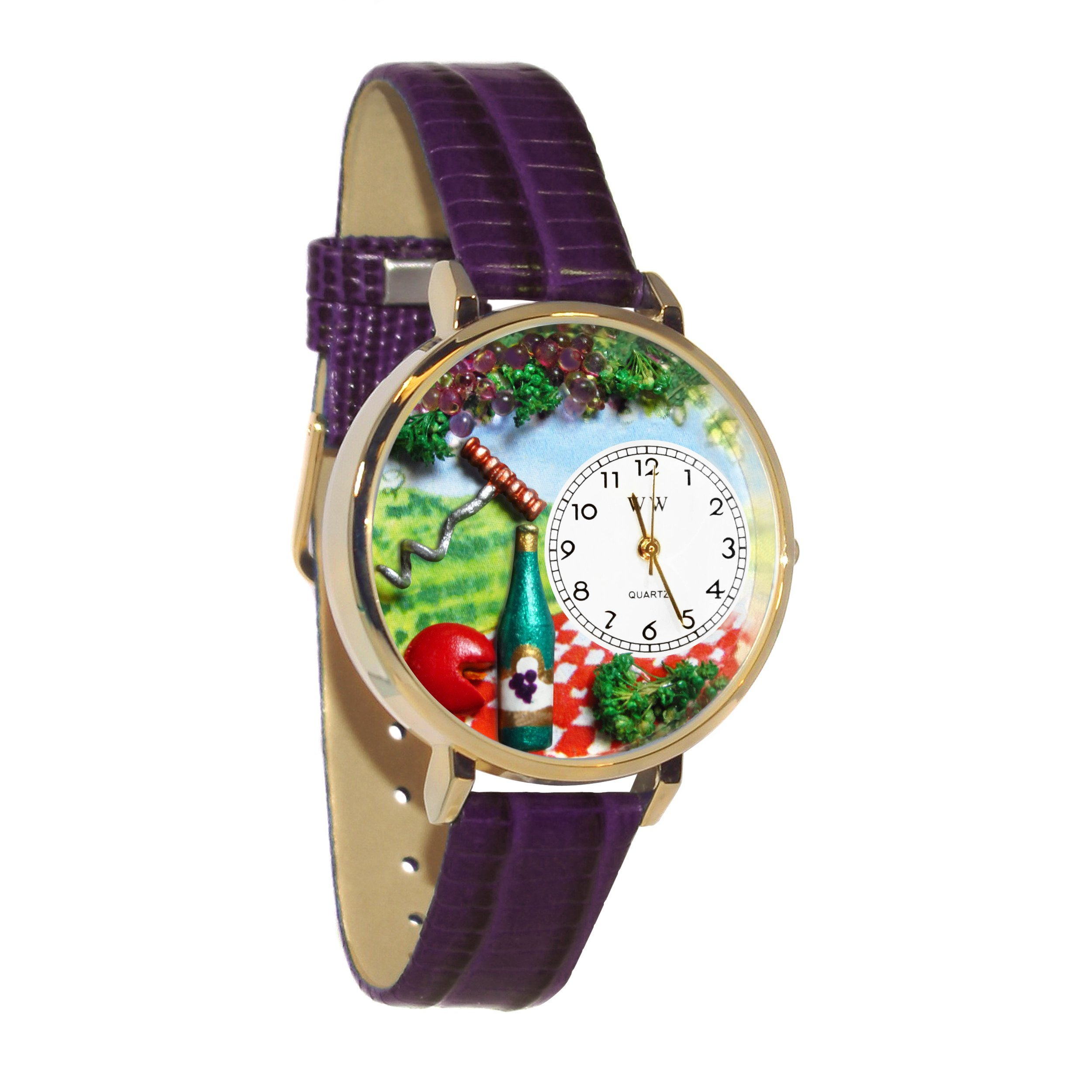 Wine & Cheese Purple Leather And Goldtone Watch #WG-G0310010