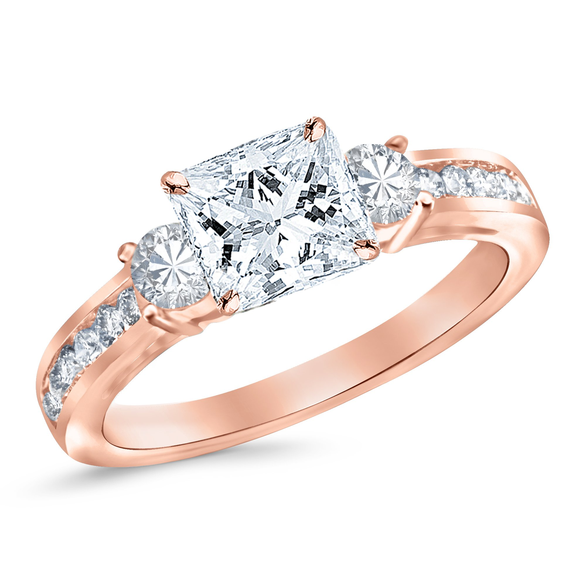 Rose Gold 3 Stone Channel Set Princess Cut Diamond Engagement Ring with a 0.5 Carat GIA Certified Princess Cut E Color VS1 Clarity Center Stone by Houston Diamond District