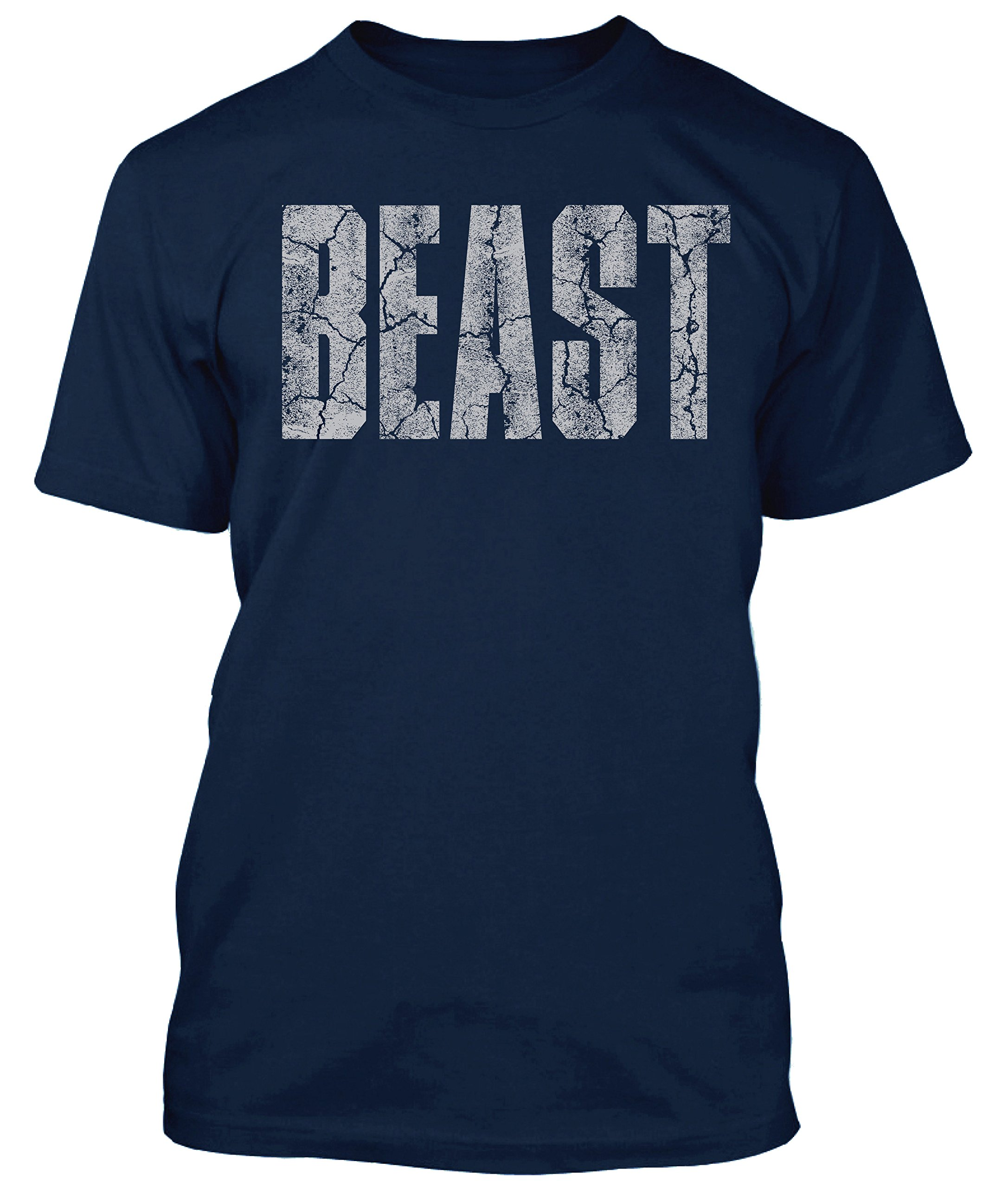 New Generation Apparel Beast Shirt Gym Workout Wear Weightlifting (S, Navy)