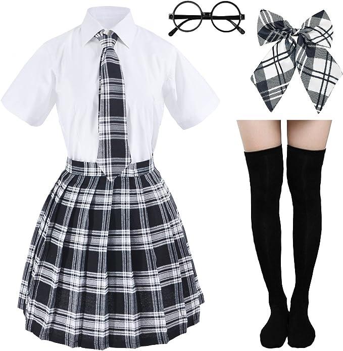Amazon.com: Disfraz de uniforme escolar plisado de tartán ...