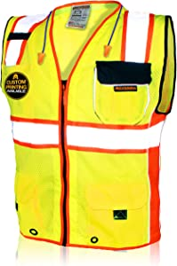 KwikSafety (Charlotte, NC) CLASSIC SUPREME (10 Pockets) Class 2 ANSI High Visibility Reflective Safety Vest Heavy Duty Mesh with Zipper and Hi Vis Construction Work Men Yellow Black Orange XX-Large