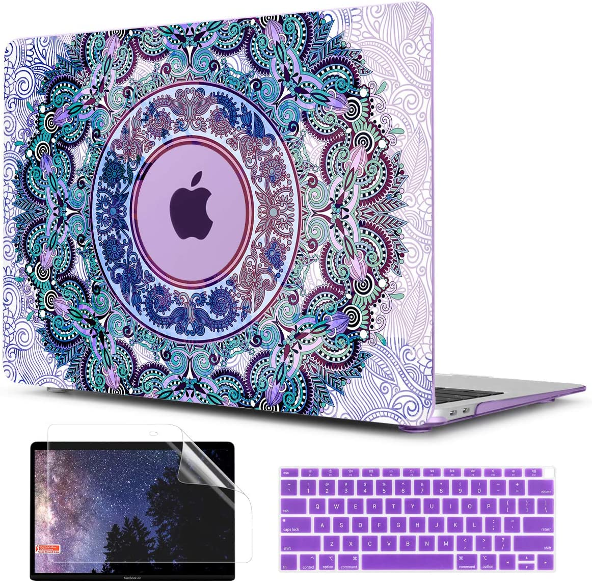 TwoL Purple Mandala Hard Shell Case Keyboard Skin Screen Protector for New MacBook Air 13 inch 2018 2019 2020 Model A1932 A2179 with Touch ID