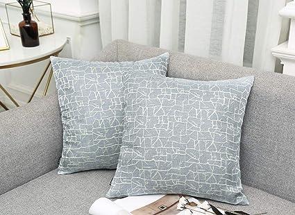 Vioaplem - Funda de cojín Bordada de algodón, Lino, para sofá, Dormitorio, hogar, 45 x 45 cm, Azul Claro, 50 x 50 cm,2 stück
