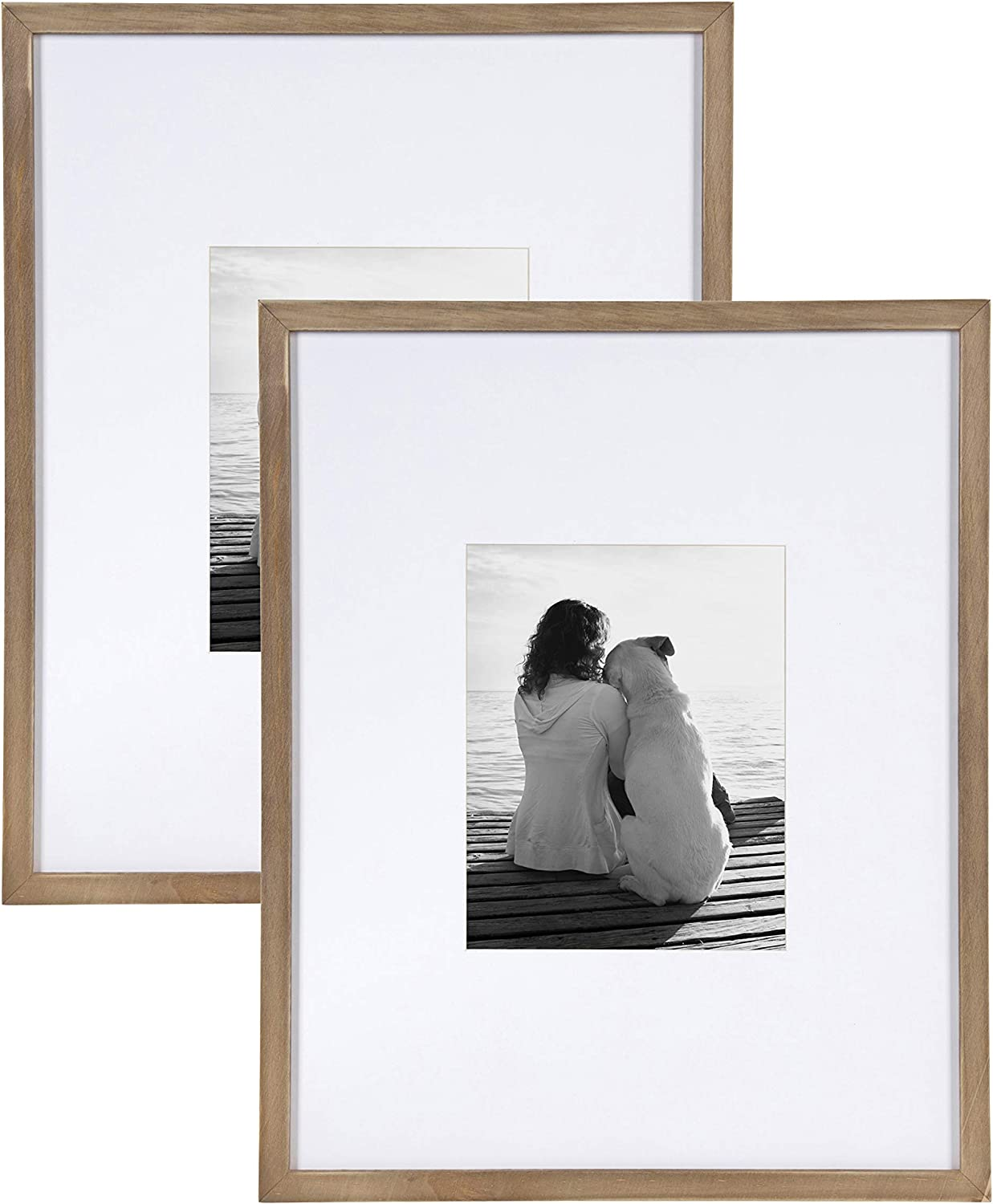 Amazon Prime Day Deals - DesignOvation Gallery 16x20 matted to 8x10 Wood Picture Frame, Set of 2, Rustic Brown, 2 Count