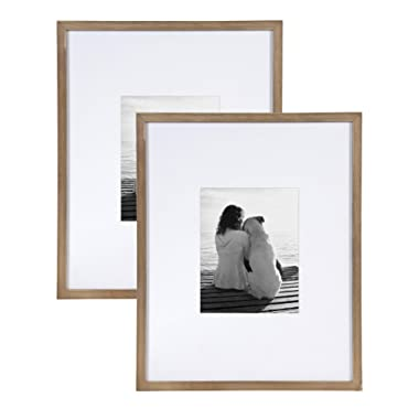 DesignOvation Gallery Wood Photo Frame Set for Customizable Wall Display, Pack of 2 16x20 matted to 8x10 Rustic Brown