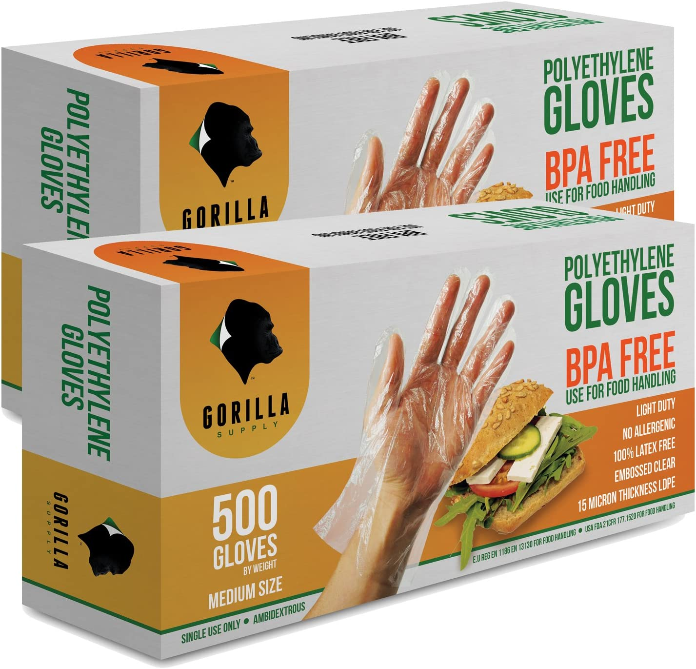 1000 BPA Free Disposable Poly PE Gloves Medium, Food Grade, 2 Pack of 500