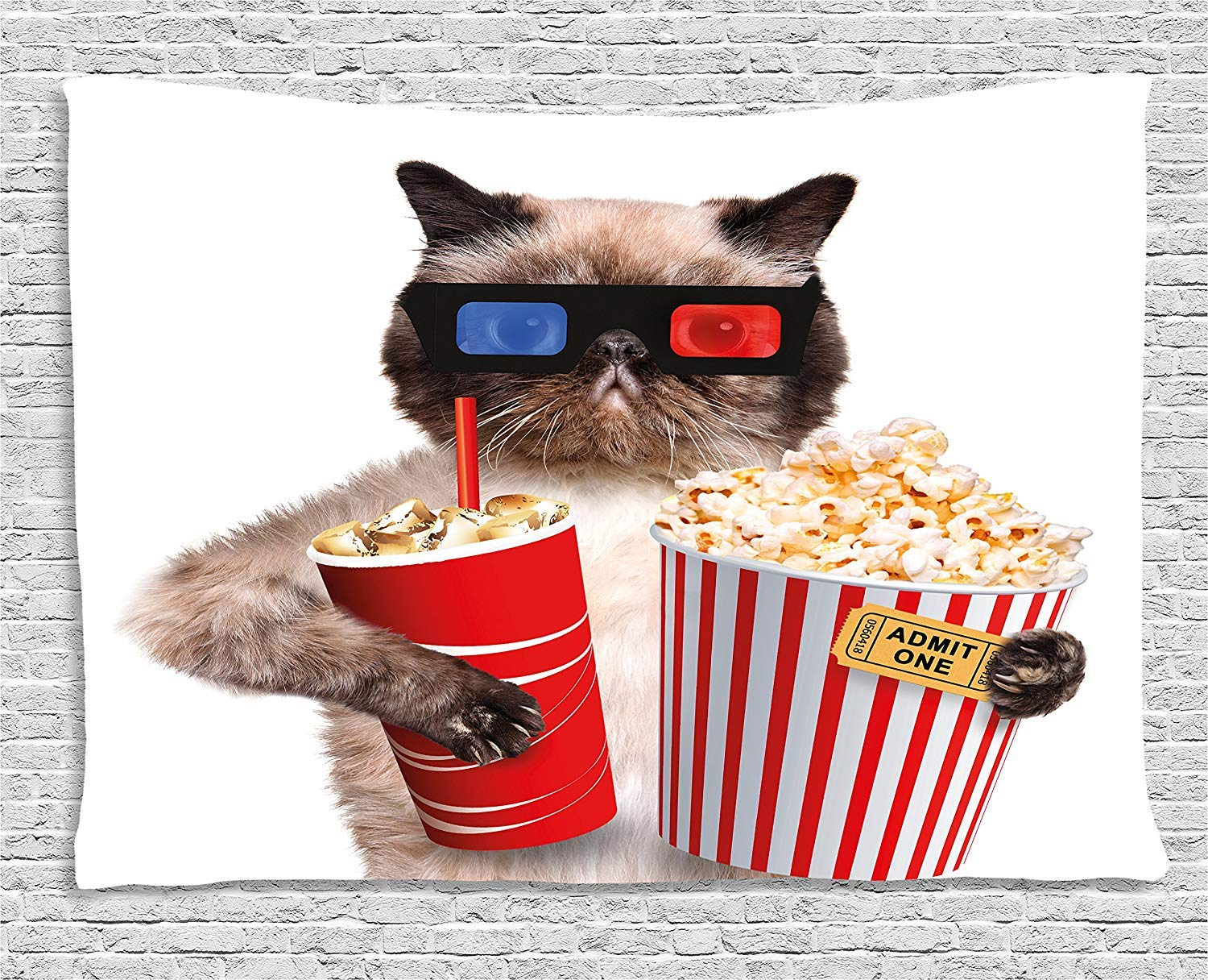 JAKE SAWYERS Movie Theater Decor Tapestry, Cat Popcorn Drink Watching Movie Glasses Entertainment Cinema, Wall Hanging Bedroom Living Room Dorm, 80 W X 60 L inches, Multicolor