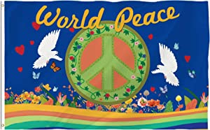 Bonsai Tree World Peace Flag 3x5 Ft Double Sided and Double Stitched Peace Love World Flags with Brass Grommets Peace Sign Garden House Outdoor Banners