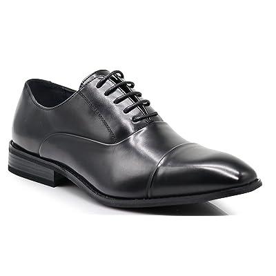 FLR Men's Cap Toe Straight Cap Classic Formal Lace Up Oxfords Dress Shoes (11, Black) | Oxfords