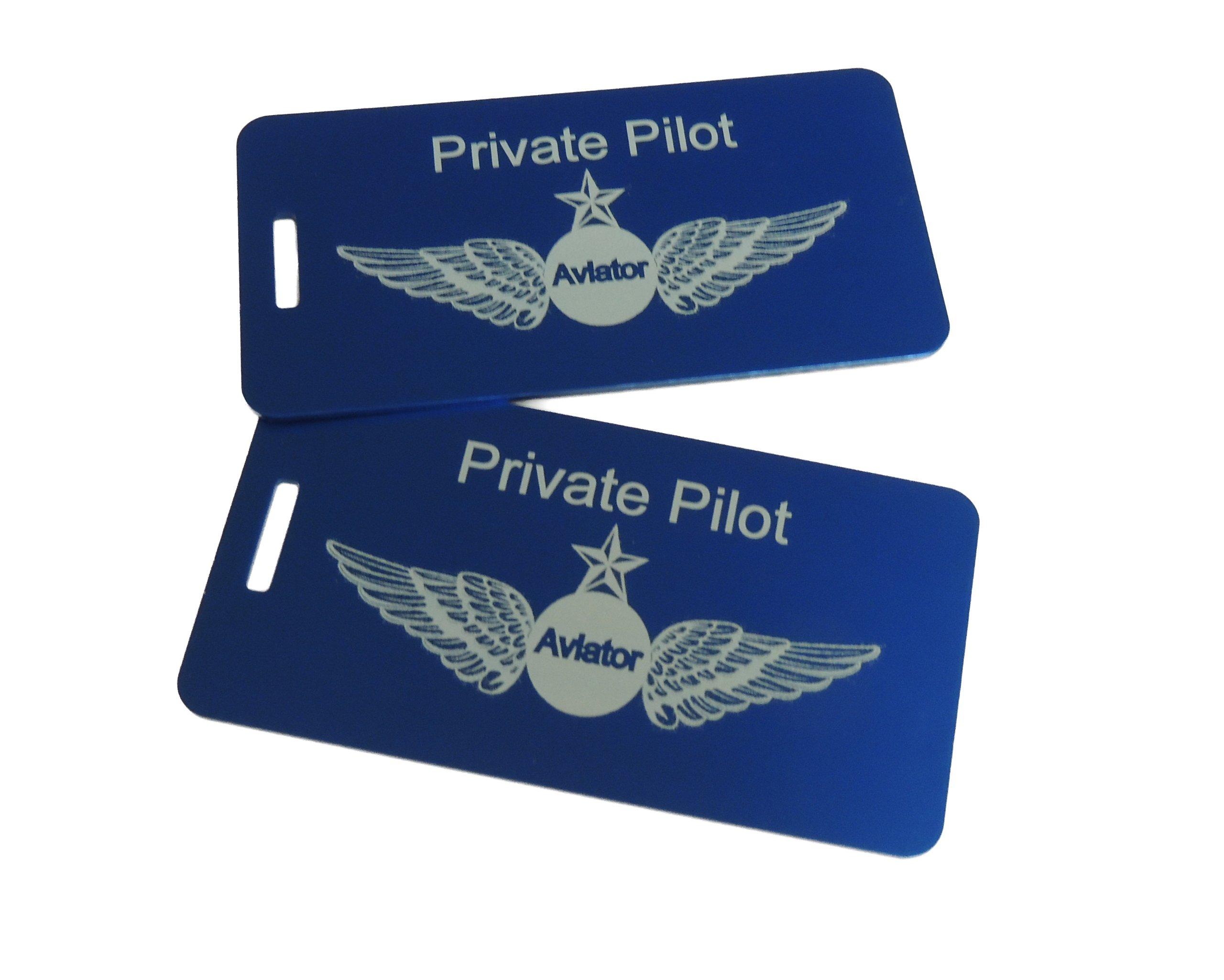 Private Pilot, Pilot Luggage, Pilot Luggage Tags, Pilot Headset Bag Tag, Private Pilot Rating, (Blue)