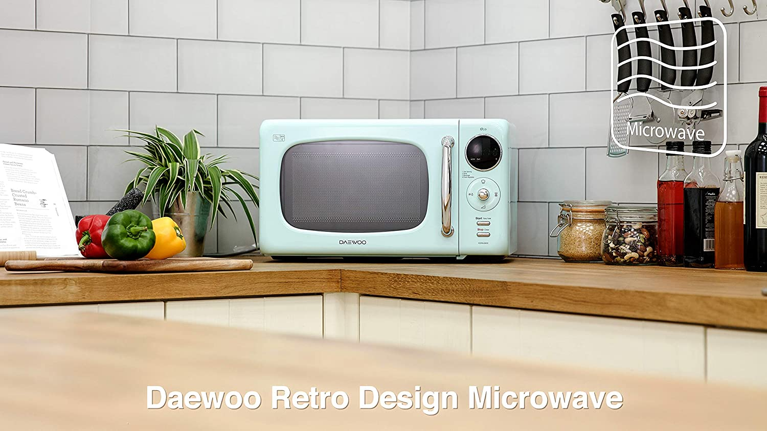Daewoo KOR9LBKMR Touch Control Microwave with Zero Standby ECO Function, 800 W, 20 Litre, Green Green