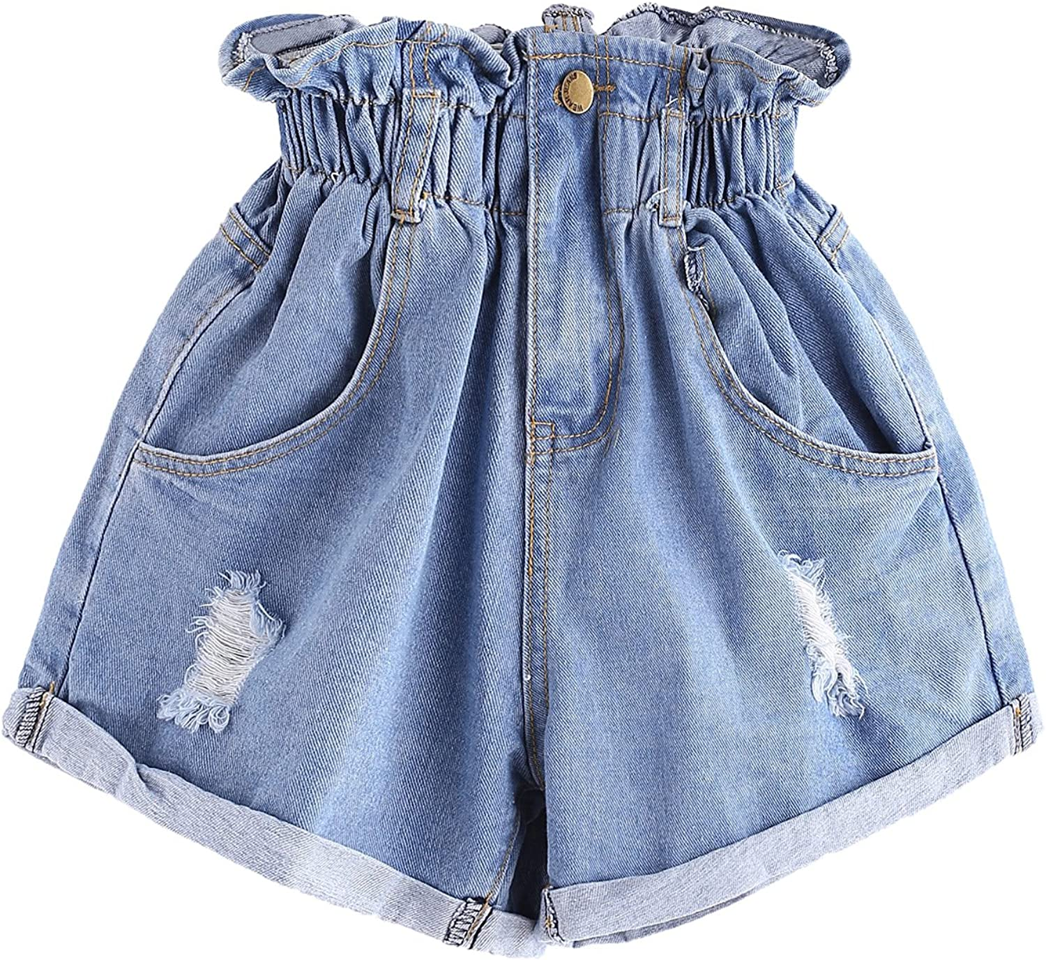 B085NYTBRQ Milumia Women's Casual High Waisted Hemming Denim Jean Shorts with Pockets 810YIm6L0eL